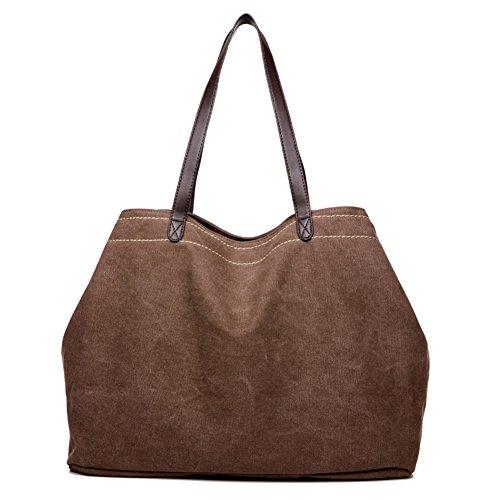 de marrón Bolsas la capacidad para lona Bolso grandes marrón de gran Bandoleras mujeres Bolso bandolera Sra Bolso ZxwnURZ