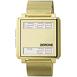ZERONE Bsquared 3 Ultra Slim Gold Mesh Band Digital Watch