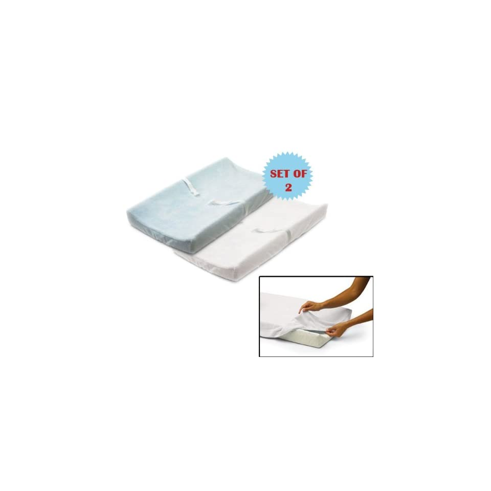 Infant Ultra Plush Change Pad Cover SET OF 2 1 WHITE 1 BLUE Baby