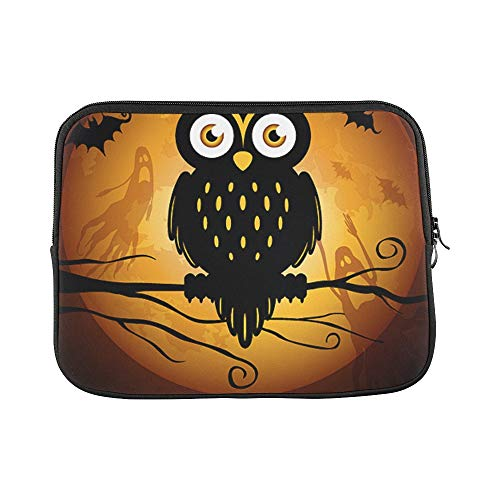 Design Custom Halloween Illustration Owl Silhouette On Moon Back Sleeve Soft Laptop Case Bag Pouch Skin for MacBook Air 11