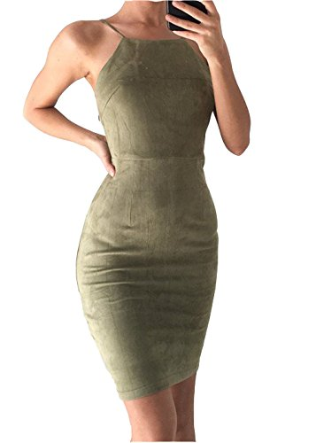 Price comparison product image Army Green Bodycon Dress, Women's Tight Fitted Party Club Mini Dress 36