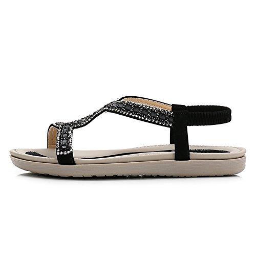 Meeshine Women's Summer Beach Flat Sandals Bohemia Beaded T-Strap Rhinestone Slip on Sandals Shoes(8 B(M) US,Black 01) by Meeshine (Image #1)
