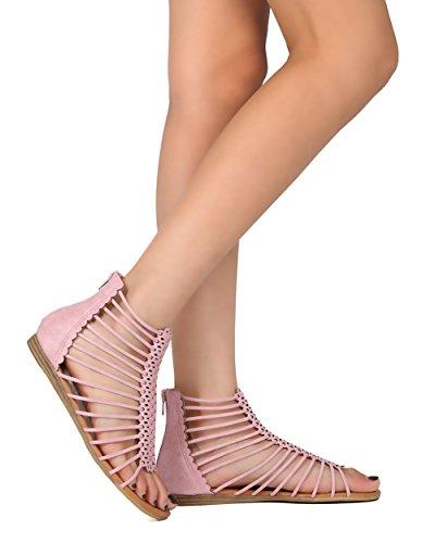 Alrisco Kvinner Flat Gladiator Sandal - Strappy Bur Sandal - Sommer  Uformell Dressy Hverdagen Trendy Sandal ...