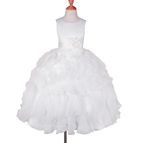 DRESSY DAISY Girls' Satin Organza Ruffle Flower Girl Dresses Pageant Gown Party Occasion Dress Size 5 Ivory (Dress Ruffle Satin)