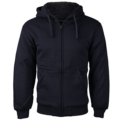 vkwear Men's Athletic Soft Sherpa Lined Fleece Zip up Hoodie Sweater Jacket (XL, Navy)