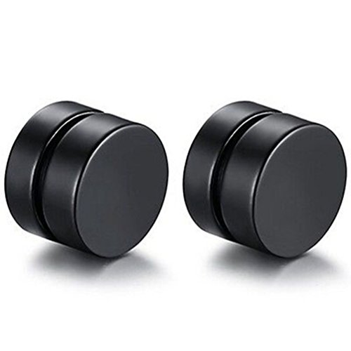 Ameesi Men Fashion Round Stainless Steel Magnetic Clip On No Piercing Ear Stud Earrings - (Magnetic Round Earrings)