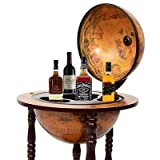 New 17'' Wood Globe Wine Bar Stand 16th Century Italian Liquor Bottle Shelf Rack