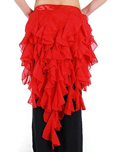Pilot-trade Women's Belly Dance Hip Scarf Belt Skirt Latin Dance Belt Performance Tassel Wave skirt Red