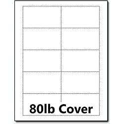 "Hamilco Blank Business Cards Card Stock Paper – White Mini Note Index Perforated Cardstock for Printer – Heavy Weight 80 lb 3 1/2 x 2"" – 100 Sheets 1000 Cards"