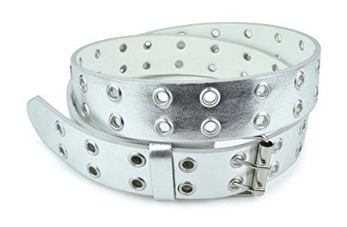 belle-donne-womens-double-grommet-leather-jeans-belt-silver-size-large