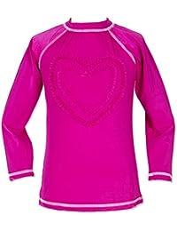 Girls Ruffled Valentine Solid Rash Guard Swim Shirts UPF 50 Sun Protective