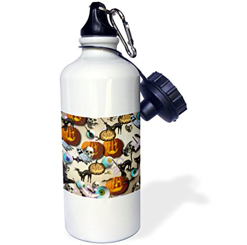 3dRose Eyeballs and Skulls and Pumpkins Artwork-Sports Water Bottle, 21oz (wb_165467_1), 21 oz, Multicolor