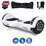 """Felimoda 6.5"""" Hoverboard -Self Balancing Scooter 2 Wheels Electric Scooter Dual Motors- UL Certified 2272 LED Wheels and LED Lights (White)"""