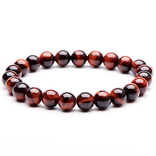 Natural Gemstone Semi Precious Round Beads Bracelet 8mm Handmade Stretch Bracelet Unisex Jewelry (5A Red Tiger Eye)