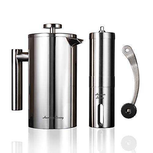 Double Wall Insulated French Press Coffee Maker (Stainless Steel) and Manual Coffee Grinder Set