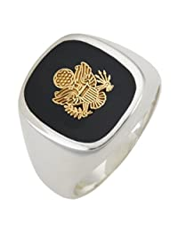 Men's 0.925 Solid Sterling Silver US Army Military Solid Back Ring