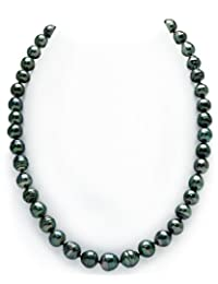 8-10mm Dark Tahitian South Sea Baroque Cultured Pearl Necklace - AAA Quality, 16 Inch Choker Length, 14K Gold Clasp