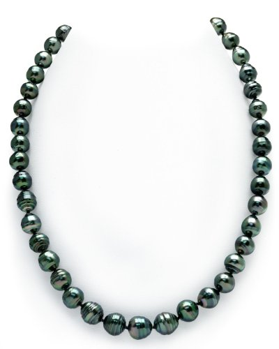 14K Gold 8-10mm Dark Tahitian South Sea Baroque Cultured Pearl Necklace - AAA Quality, 17