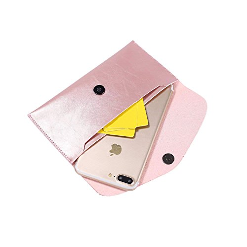 Ailzos Phone PU Leather Wallet Style Sleeve Case Cover,Portable Soft Fiber Leather Case Holster Cover Universal Pouch Sleeve for iPhone X/7 8 Plus,7,6S,6,5S/Samsung Galaxy S9 S8+ S8/S8 etc,Pink by Ailzos (Image #3)