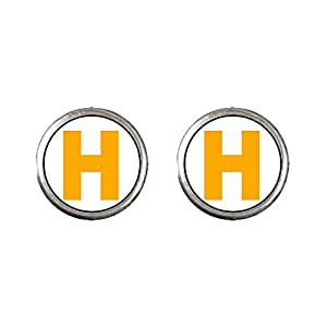 Chicforest Silver Plated Yellow Letter H Photo Stud Earrings 10mm Diameter