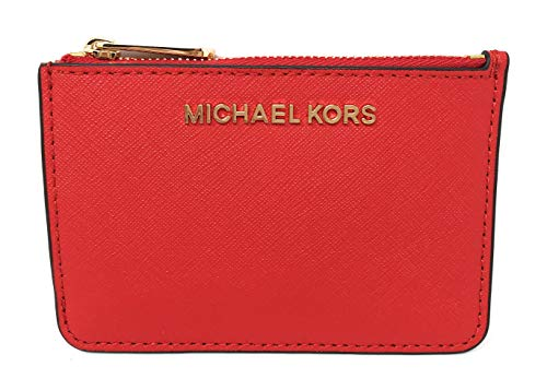 Coin Leather Zip Purse - Michael Kors Jet Set Travel Small Top Zip Leather Coin Pouch ID Card Case Wallet In DK Sangria