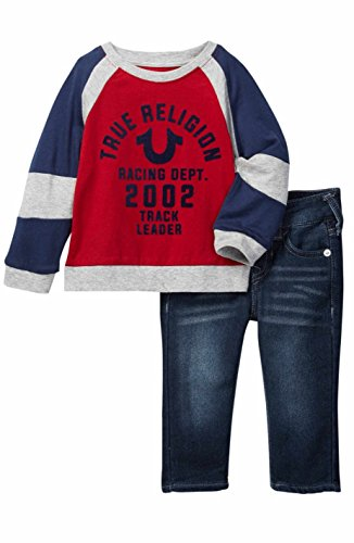 True Religion Infant Boy's Long Sleeve Pant Set Outfit Red (24 months)