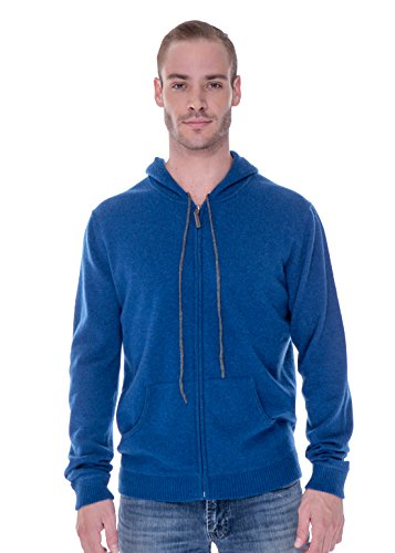 LEBAC 100% Cashmere Sweater Zip Up Hoodie with Double Layer Hood for Men