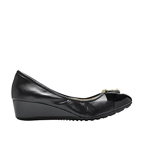 Cole Haan Women's Emory Bow Wedge (40MM) Pump Black Leather 9 B US