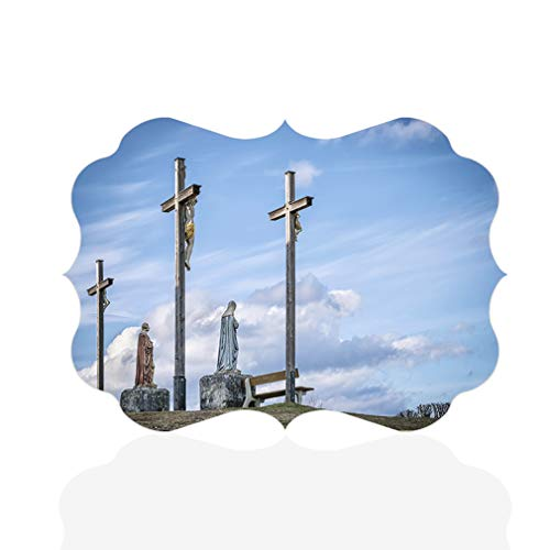Sign Destination Aluminum Metal Wall Decor Christian Jesus Cross in Bavaria Horizontal Religions Photo Print Wall Art - Benelux Shape, 7