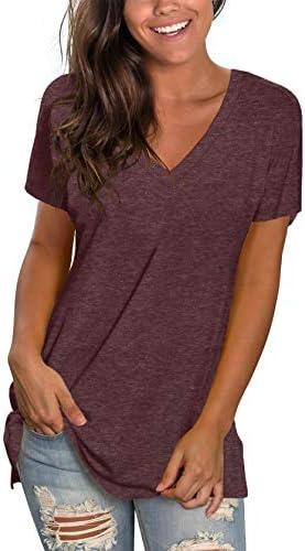 Sipaya Womens T Shirts Basic V Neck Tee Loose Fitting Casual Short Sleeve Tops