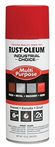 Rust-Oleum 1660830 Safety Red 1600 System General Purpose Enamel Spray Paint, 16 fl. oz. container, 12 oz. weight fill, Can (Pack of 6) - Rust Oleum Industrial Enamel