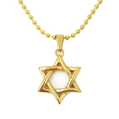 Stainless Steel Gold Tone Star of David Pendant Necklace