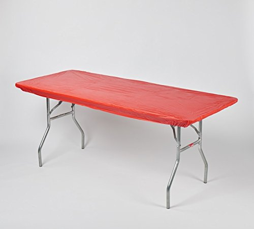"""Kwik-Covers 8' Rectangle Plastic Table Covers 30"""" x 96"""", Bundle of 5 (Real Red)"""