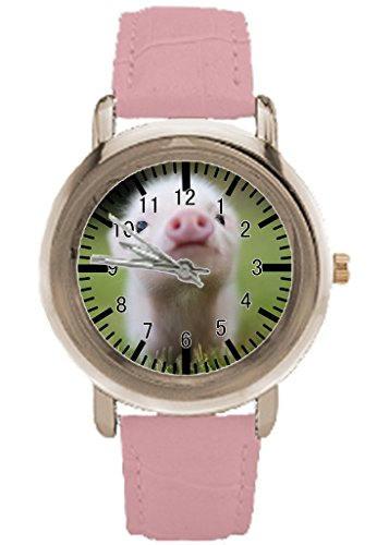 Pig Custom Watches For Women With Pink Leather Strap Gold Face