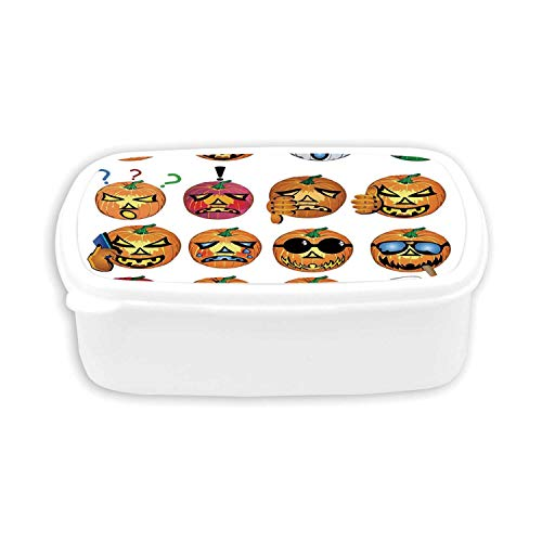 Halloween Decorations Durable Plastic Lunch containers,Carved Pumpkin with Emoji Faces Halloween Humor Hipster Monsters Art For dining room,7.09