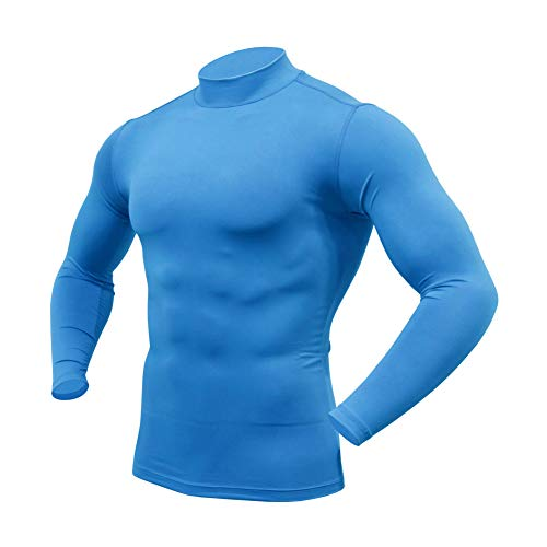 ARMEDES Mens Mock Long-Sleeved T-Shirt Cool Dry Compression Baselayer AR-151/53 (53 Sky Blue, X-Large)