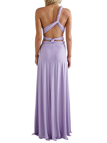 Clothink Women Light Purple Multiway Wedding Bridesmaid Maxi Long Dresses M