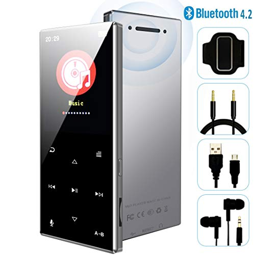 MP3 Player - 2019 New Updated Model, Bluetooth 4.2 Metal Sports Touch Button Music Player, 62 Hours Playback, Build in Speaker, Voice Recorder FM Radio, Expandable 64GB TF Card, H29Silver1 (Ipods And Mp3 Players)