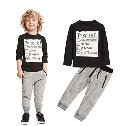 Jobakids Boys 2 Pieces Set Boys Cotton Clothing Set(Black,6T)