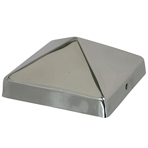 6x6 Stainless Steel Pyramid Post Cap by Captiva - Extended Lip - Stainless Steel - Will Not Rust - (5-1/2