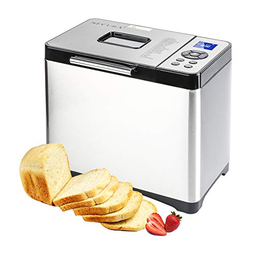 Secura Bread Maker 2.2 Pound Toaster Machine MBF-016 Multi-Use Programmable, 19 Menu Settings for Home Bakery, Silver