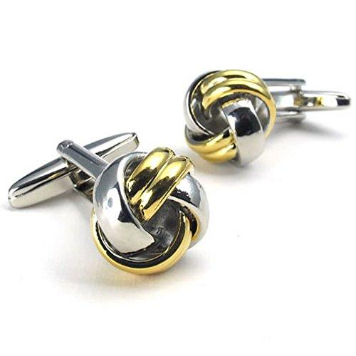 KONOV Jewelry 2pcs Rhodium Plated Men's Love Knot Shirts Cufflinks, Wedding, Color Gold Silver, 1 Pair Set
