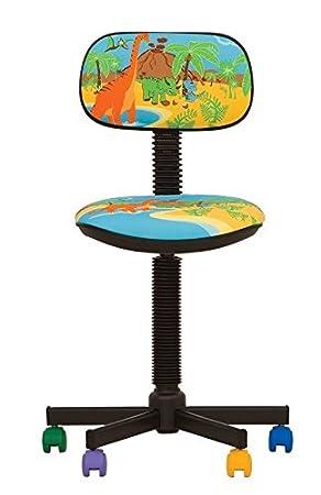 Bambo - Silla de escritorio infantil ergonómica, altura del asiento 42 cm-56 cm),altura del respaldo ajustable/giratorio 360 °/ruedas multicolor (AZUL): ...