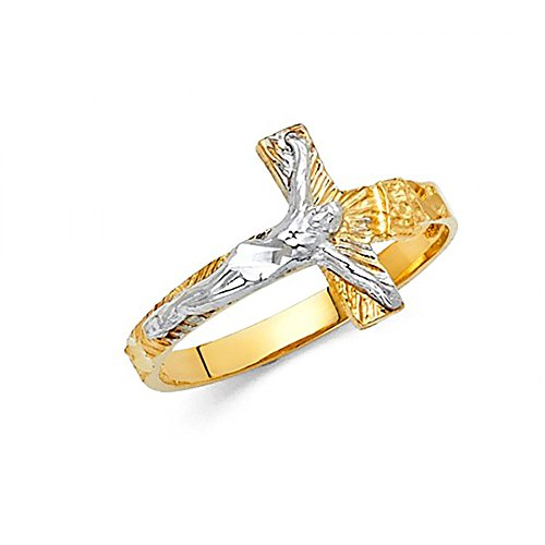 14K Two Tone Gold Crucifix Cross Ring (Two Tone Gold Cross Ring)