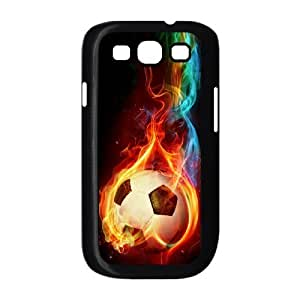 wugdiy Custom Hard Plastic Back Case Cover for Samsung Galaxy S3 I9300 with Unique Design Fire Football Soccer ball