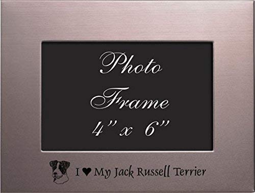 (LXG, Inc. 4x6 Brushed Metal Picture Frame-I Love My Jack Russell Terrier-Silver)