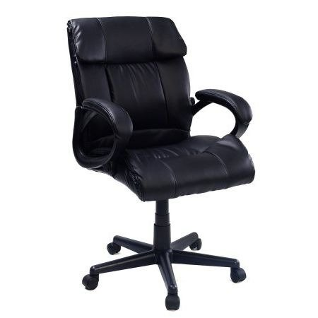 42' Leather Black Seat (Executive Office Chair Computer Desk,Leather,High Back, Black)