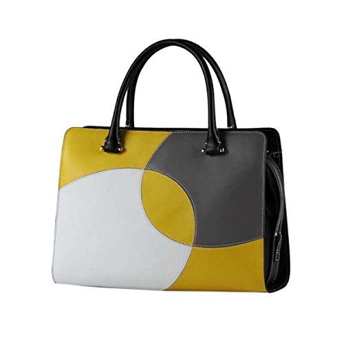 Moda Ocasiones Formales Yy.f Bolsa De Negocios Con La Costura Creativa Bolsos De Cuero Bolsos Elegantes 2 Colores Yellow