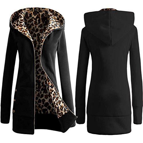 Style Manches Gaine Hiver Lopard Capuchon Coat Schwarz Outerwear Vintage Fit Fashion Slim Longues A Elgante Chaud Automne Femme Spcial Capuche Loisir Blouson vrxwzvpq