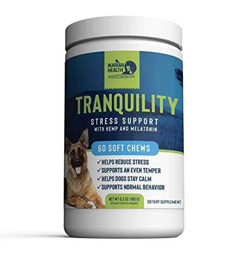 Ikarian Health - Tranquility Calming Aid for Dogs - Hemp, Melatonin, Chamomile, Passion Flower - Composure Anxiety and Stress Support for Travel, Fireworks, Separation or Storms - 60 Soft Chew Treats